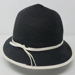 Preston & York hat 100% paper black w/ white trim